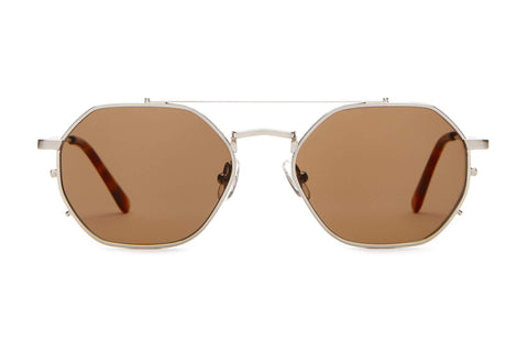 Crap Eyewear - The Jazz Safari Brushed Silver Havana Tortoise Sunglasses / Amber Lenses