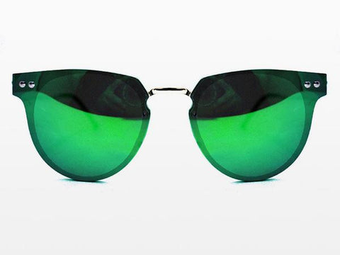 Spitfire - Cyber Silver Sunglasses, Green Mirror Lenses