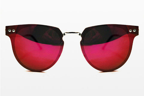 Spitfire Cyber Silver Sunglasses, Red Mirror Lenses