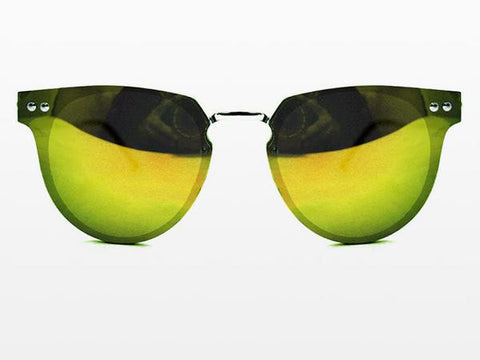 Spitfire - Cyber Silver Sunglasses, Yellow Mirror Lenses