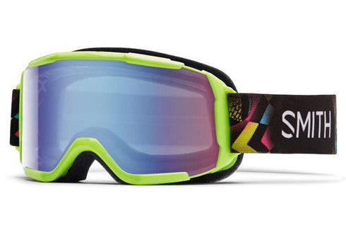 Smith Daredevil Neon Blacklight Green Goggles, Blue Sensor Mirror Lenses