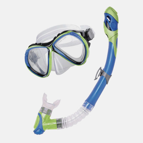 Leader - Curacao Sr. Adult Advanced Series Blue Lime Green Combo Snorkel Mask