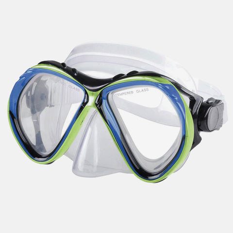 Leader - Belize Sr. Adult Advanced Series Blue Lime Green Snorkel Mask