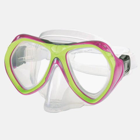 Leader - Belize Jr. Ages 7+ Advanced Series Neon Pink Lime Green Snorkel Mask