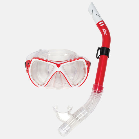 Leader - Catalina Sr. Adult Recreational Series Red White Combo Snorkel Mask