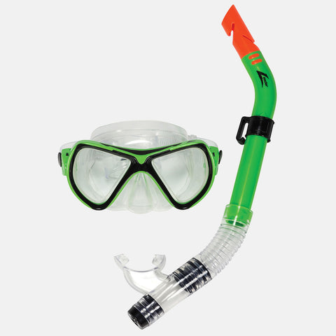 Leader - Catalina Sr. Adult Recreational Series Black Lime Combo Snorkel Mask