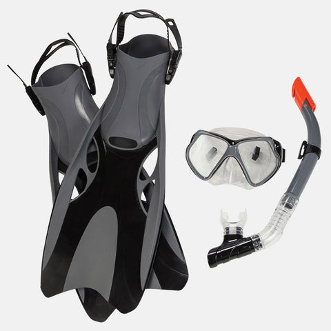 Leader - Montego Bay Sr. Adult Intermediate Series Small Black Silver Snorkeling Kit