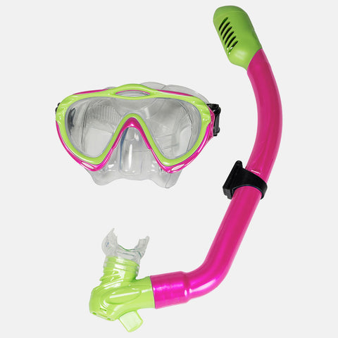 Leader - Majorca Jr. Ages 7+ Intermediate Series Neon Pink Lime Green Combo Snorkel Mask
