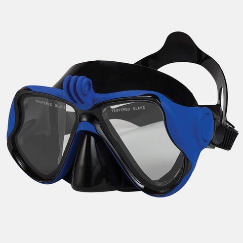 Leader - Explorer Sr. Adult Advanced Series Blue Black + Camera Mount Snorkel Mask