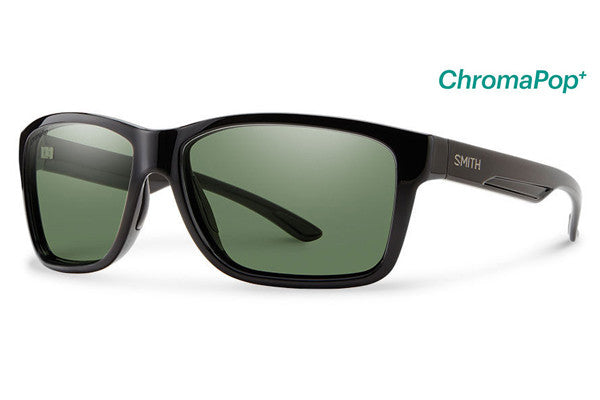 Smith Drake Black Sunglasses, ChromaPop+ Polarized Gray Green Lenses