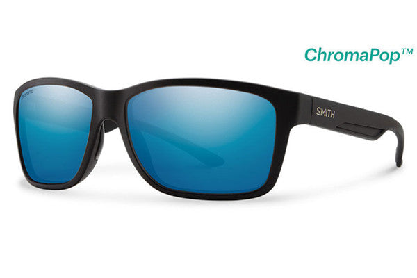 Smith - Drake Matte Black Sunglasses, ChromaPop+ Polarized Blue Mirror Lenses