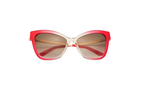 Kyme - Gianna Red & Champagne Shiny Gold Arm Sunglasses