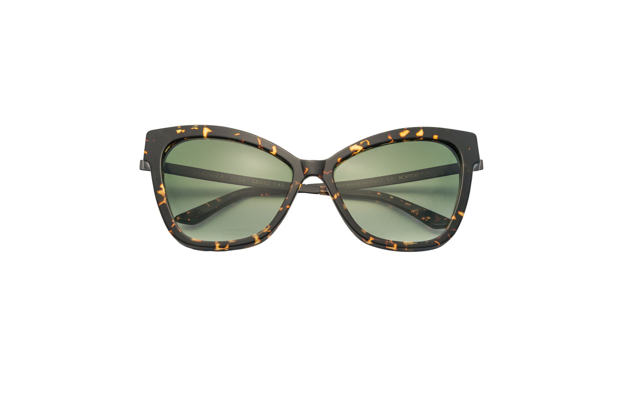 Kyme - Gianna Dark Havana Tortoise & Satin Black Arm Sunglasses