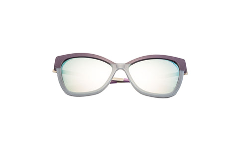 Kyme - Gianna Violet & Grey Shiny Silver Sunglasses