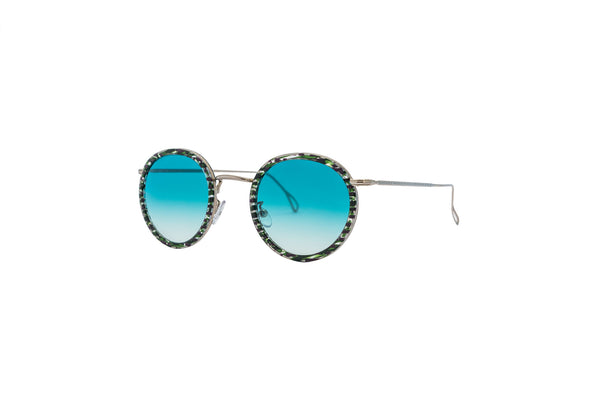Kyme - Matti Shiny Silver & Green Remix Sunglasses