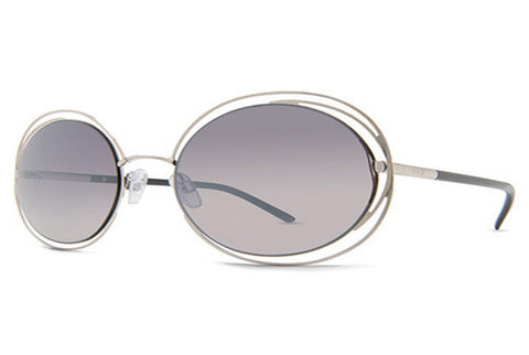 Dot Dash - Sparkle Powder Silver Gloss SGC Sunglasses, Grey Chrome Lenses