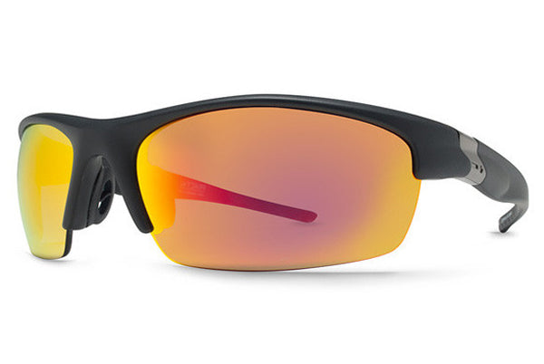 Dot Dash - Fractal Black Satin BCM Sunglasses, Red Chrome Lenses