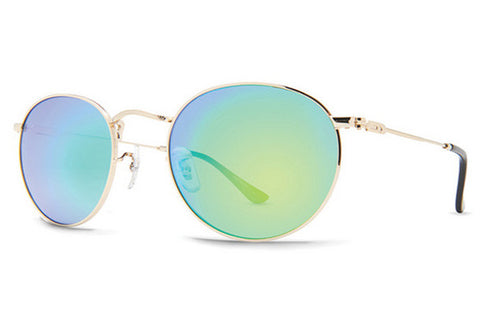 Dot Dash - Velvatina Gold Gloss GGC Sunglasses, Green Chrome Lenses