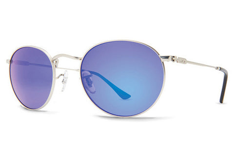 Dot Dash - Velvatina Silver Matte VSU Sunglasses, Blue Chrome Lenses