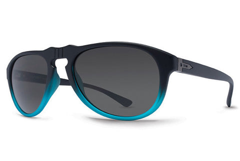 Dot Dash - Gentry Black Blue Satin BBK Sunglasses, Retro Grey Lenses