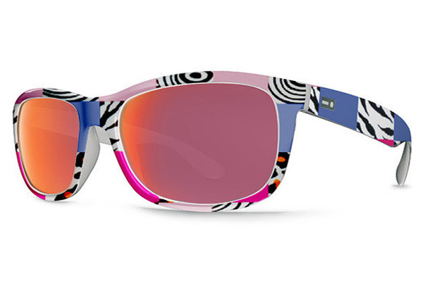 Dot Dash - Poseur Zebra Pants PPK Sunglasses, Black Red Chrome Lenses