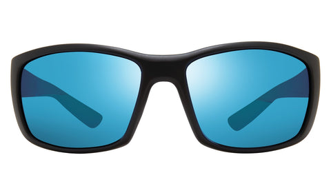 Revo - Dexter 64mm Matte Black Sunglasses / Revo Blue Lenses