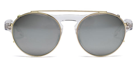 Westward Leaning - Dyad 14 Polished Crystal Acetate Sunglasses / Polished Gold Metal Standard Grey Lenses