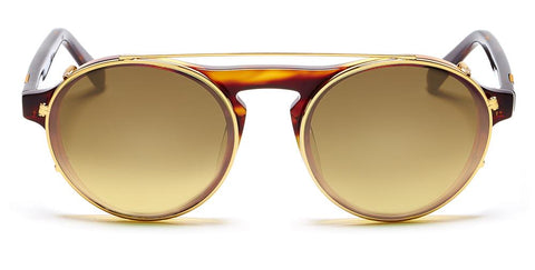 Westward Leaning - Dyad 15 Polished Caramel Gradient Acetate Sunglasses / Polished Gold Metal Brown Gradient  Lenses
