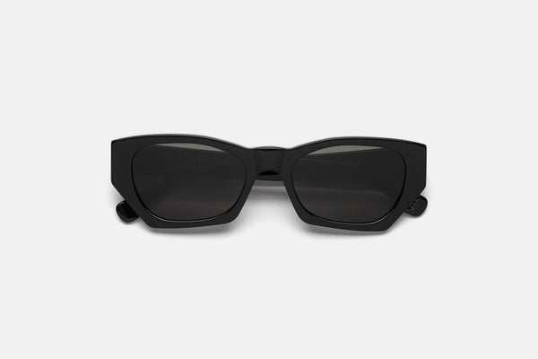 Super - Amata 54mm Shiny Black Acetate Sunglasses / Black Lenses