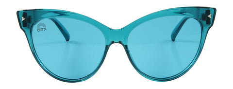 RainbowOPTX - Cat Eye Transparent Aqua Sunglasses / Aqua Lenses