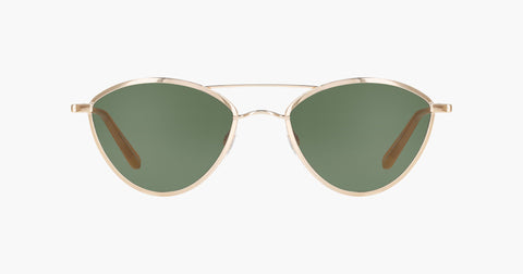 Garrett Leight - Breeze Gold Toffee Sunglasses / Semi Flat Green Lenses