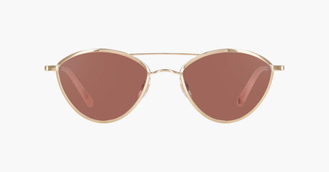 Garrett Leight - Breeze Rose Gold Flamingo Sunglasses / Semi Flat Bordeaux Lenses
