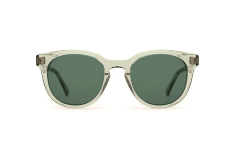 Epokhe - Anteka 2.0 Smoked Crystal Polished Sunglasses / Green Lenses