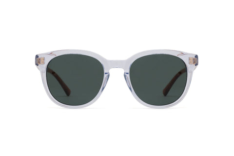 Epokhe - Anteka 2.0 18S2 51mm Crystal Polished Sunglasses / Green Lenses