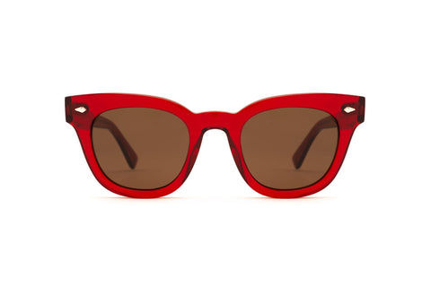 Epokhe - Dylan 49mm Blood Red Polished Sunglasses / Bronze Lenses
