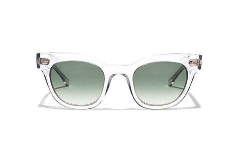Epokhe - Dylan 49mm Crystal Gloss Sunglasses / Green Gradient Lenses