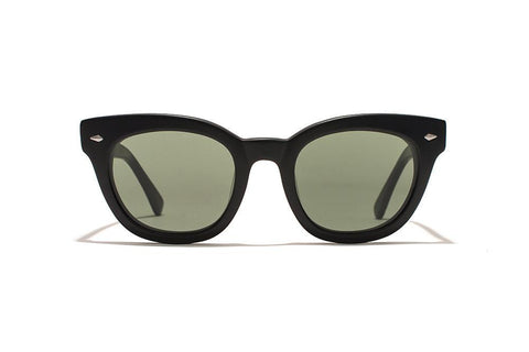 Epokhe - Dylan Zero 49mm Black Gloss Sunglasses / Green Zero Lenses