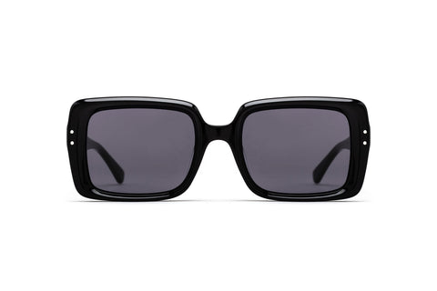 Epokhe - Lou 51mm Black Polished Sunglasses / Black Lenses