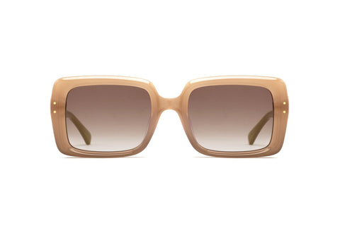 Epokhe - Lou 51mm Bone Polished Sunglasses / Bronze Lenses