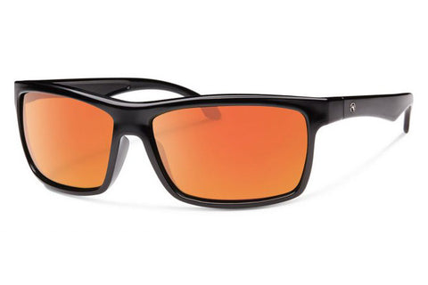 Forecast - Ajay Black Sunglasses, Red Mirror Lenses