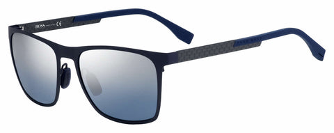 BOSS by Hugo Boss - 0732 S Matte Blue Carbon Sunglasses / Smoke Mirror Gradient Lenses