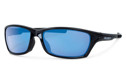 Forecast - Chet Black Sunglasses, Blue Mirror Polarized Lenses