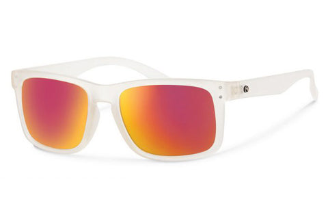Forecast - Cylde Matte Clear Sunglasses, Red Mirror Lenses