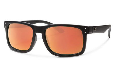 Forecast - Cylde Matte Black Sunglasses, Red Mirror Lenses