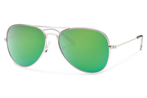 Forecast - Kennedy Silver Sunglasses, Green Mirror Lenses