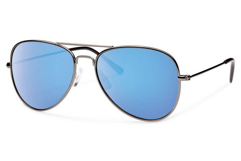 Forecast - Kennedy Gunmetal Sunglasses, Blue Mirror Lenses