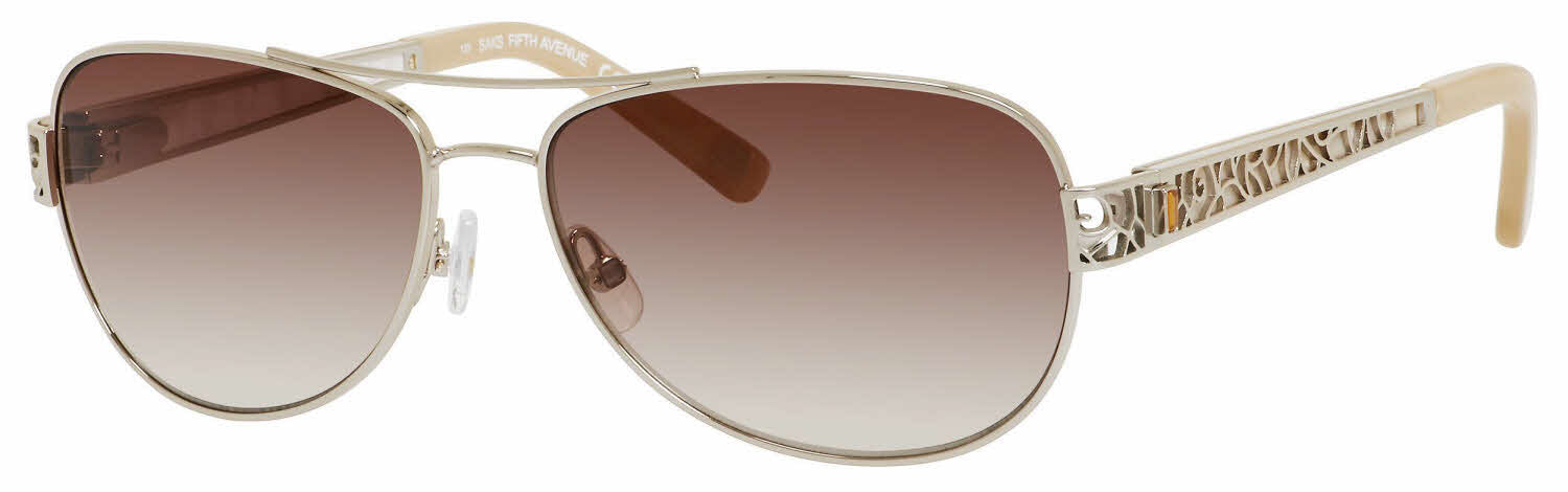 Saks Fifth Avenue - Saks 81 S Almond Sunglasses / Brown Shaded Gold Flash Lenses