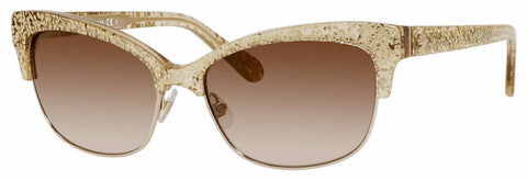 Kate Spade - Shira S Gold Glitter Sunglasses / Brown Shaded Gold Flash Lenses
