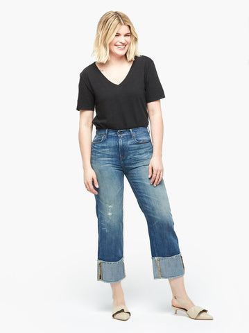 ABLE - The Martha Permanent Cuff Straight Denim Jeans