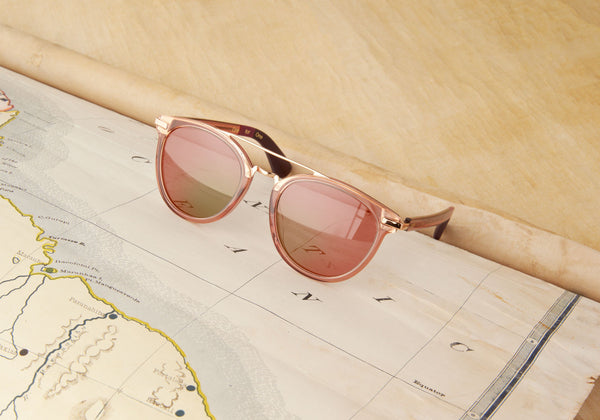 TOMS - Harlan Sherry Crystal Sunglasses, Rose Mirror Lenses